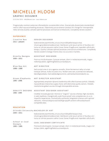 Simple Resume Templates For Your Professional And One Of A Kind Resume