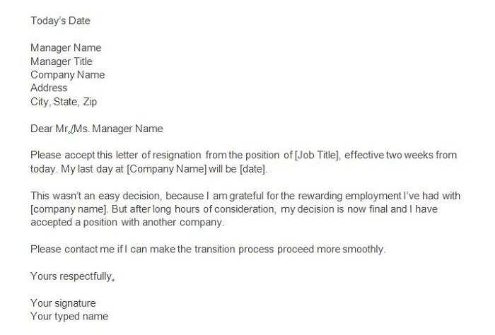 Two weeks notice Professional Resignation Letter