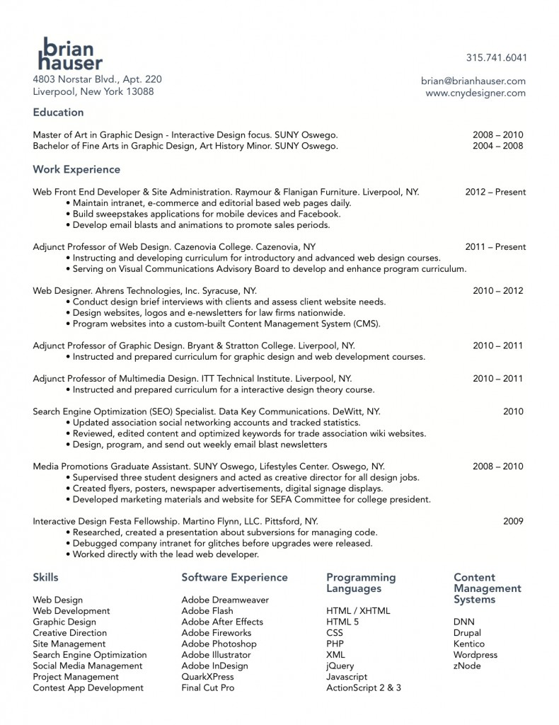 Web Developer Resume Designer Graphic Pdf Hauser Developer