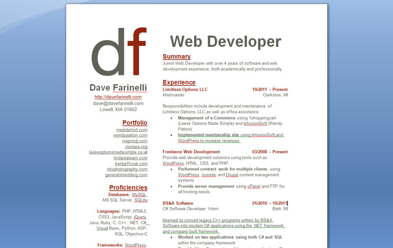 Web Developer Resume Example Summary Experience