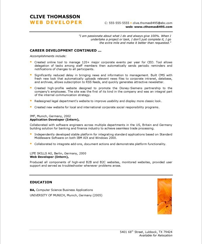 web developer resume samples career development continued - Developer Resume Template