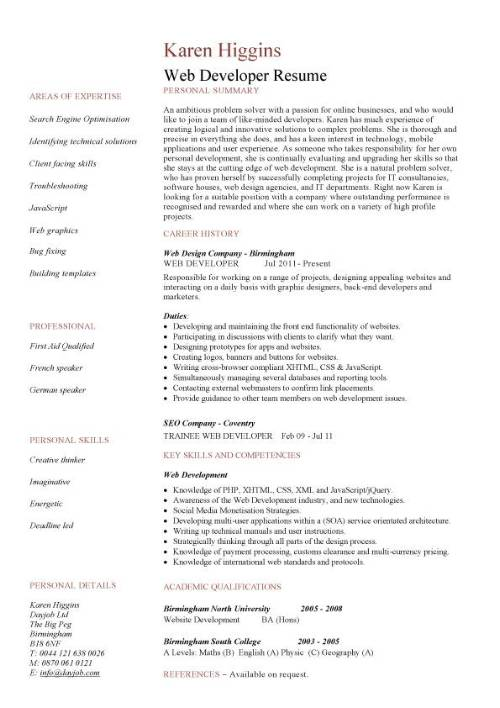Web Developer resume personal summary