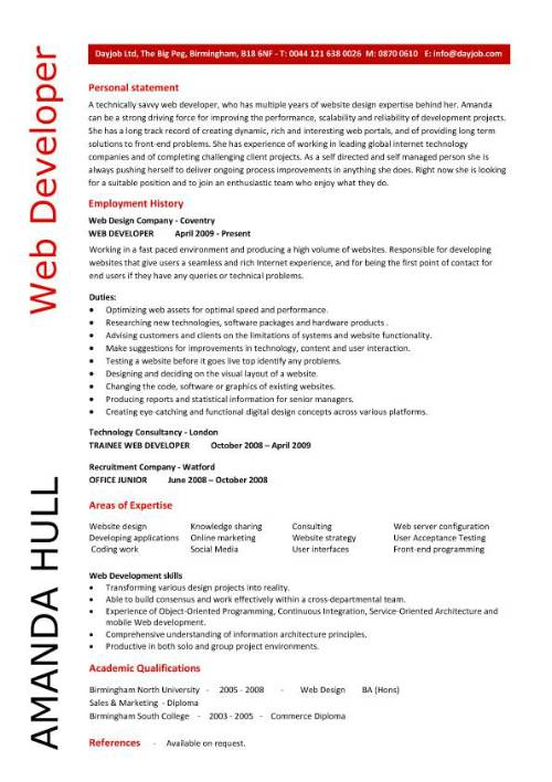 Web Developer resume resume personal statement – Web Developer Job Description