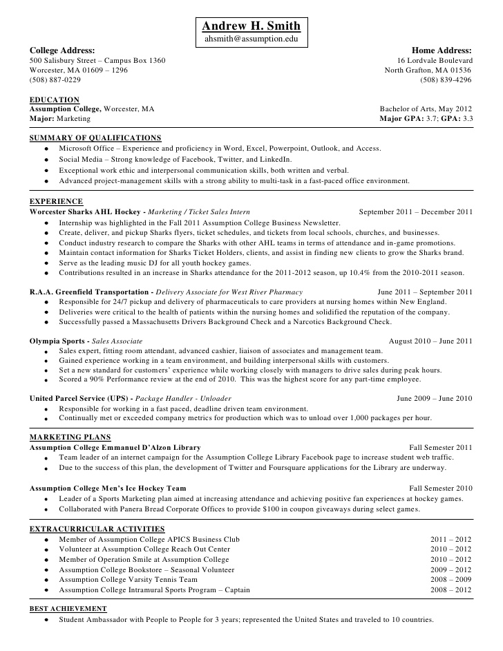Andrew Smith Package Handler Job Description Resume