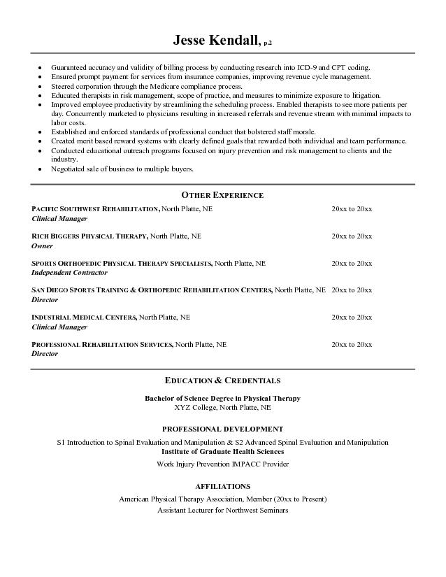 assistant physiotherapist resume physical therapist development