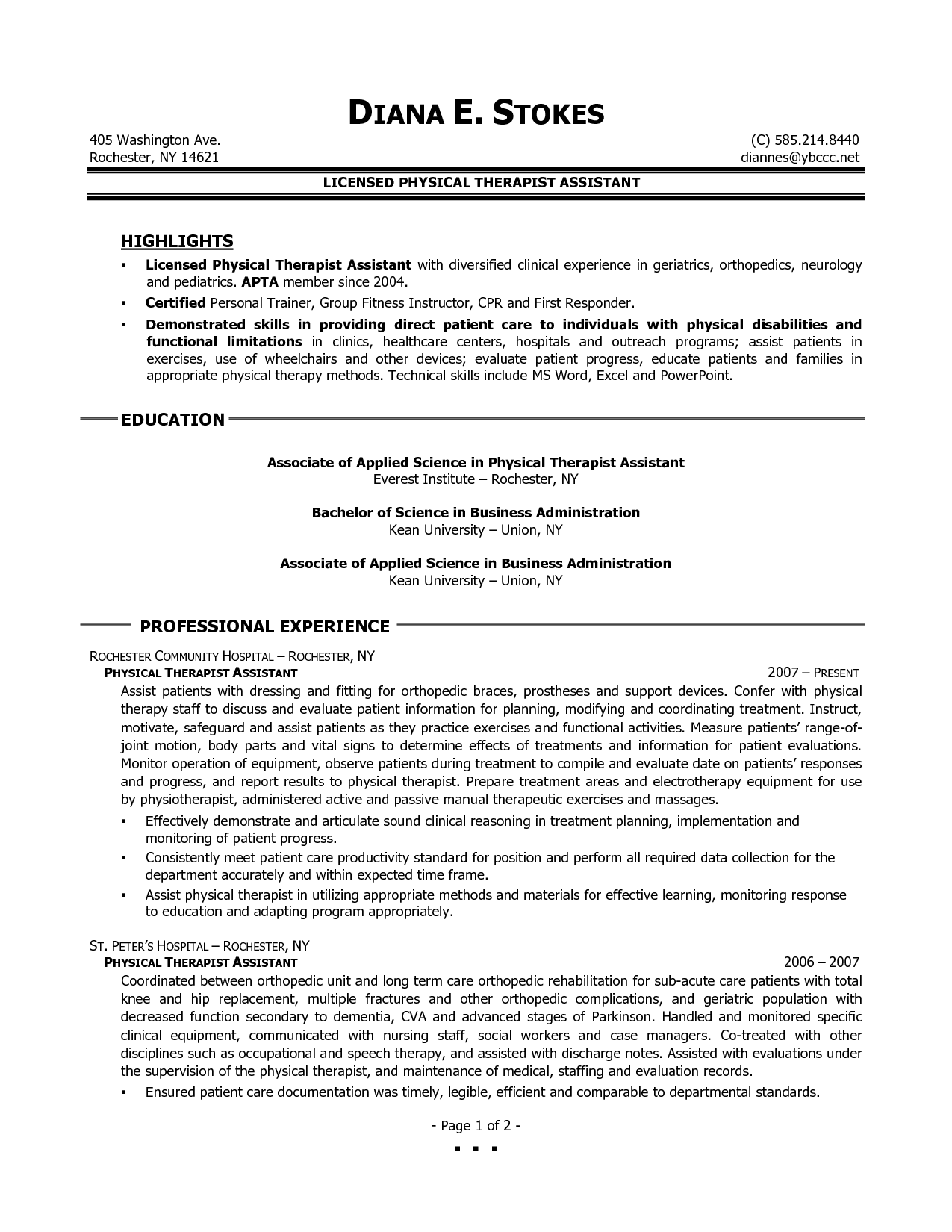 Occupational Therapy Resume Links