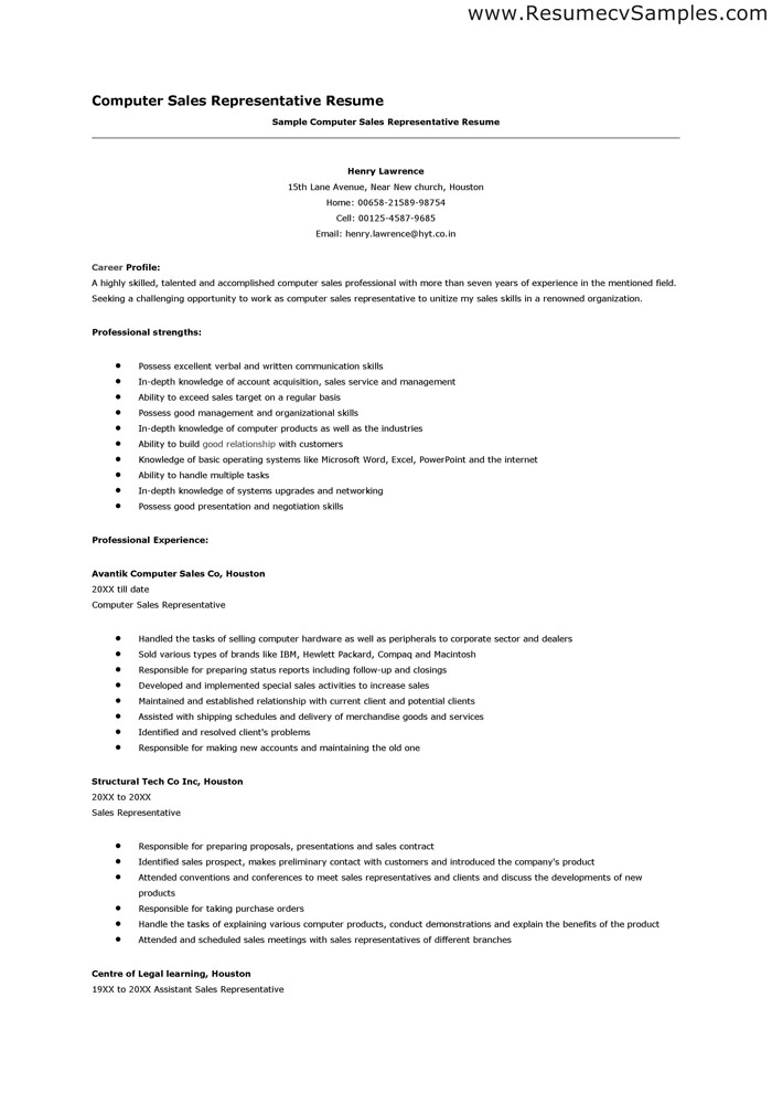 resume templates for retail sales position computer representative format samples jobs job