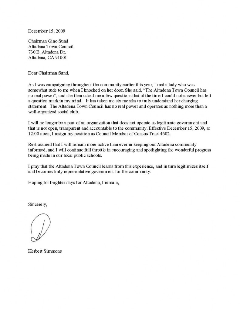 Sample Of Good Resignation Letter Samplebusinessresume