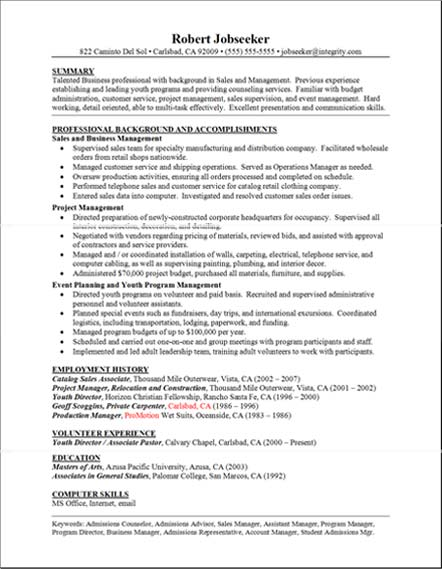 good resume examples professional background and accomplishments - Good Resume