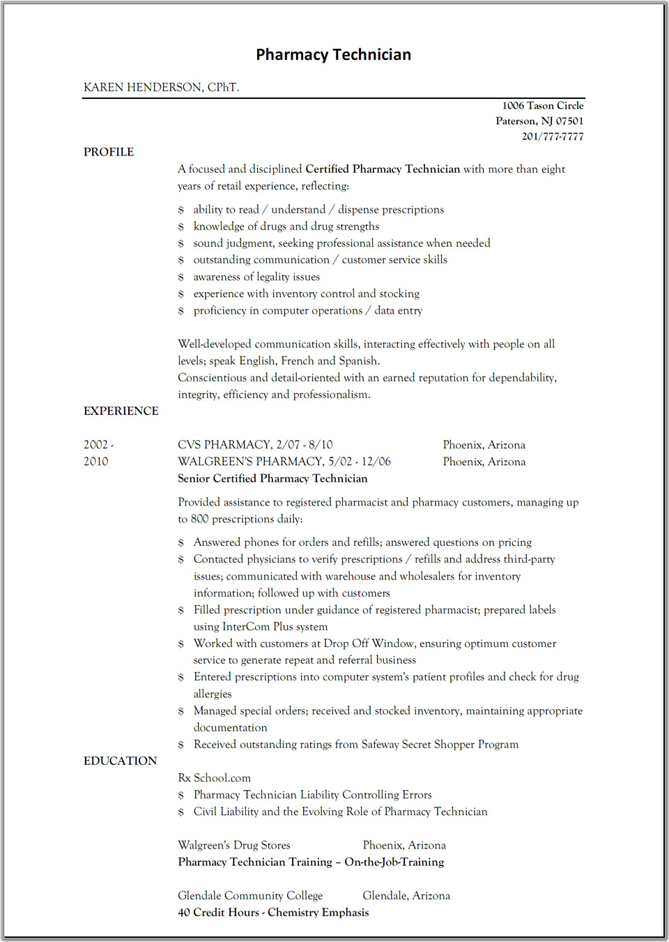 hospital pharmacist resume examples profile experience samplebusinessresumecom samplebusinessresumecom