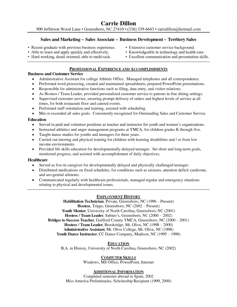 Hostess Job Description For Resume Professional Experience And Accomplishments