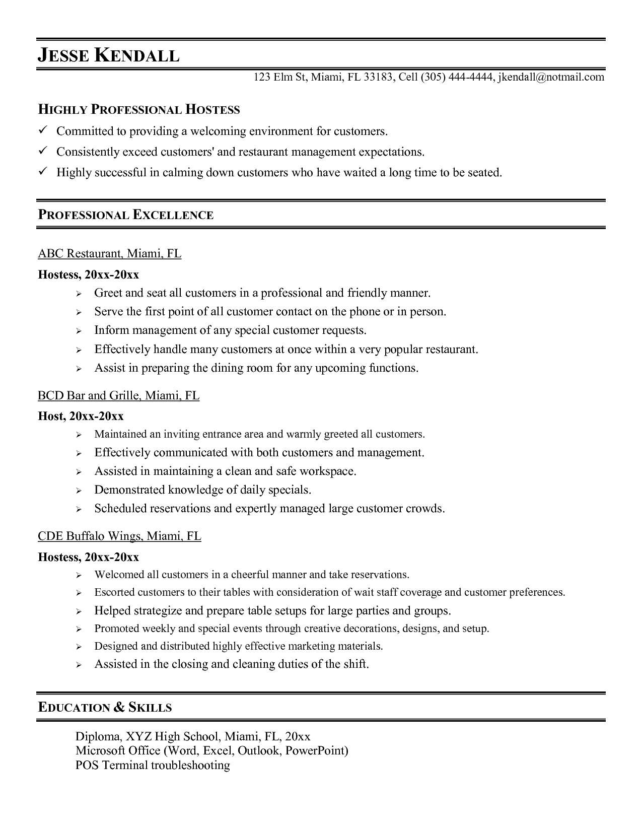 hostess job description for resume