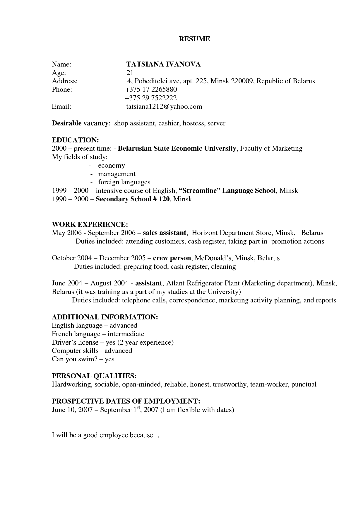 Hostess Resume Job Description For Tatsiana Ivanova