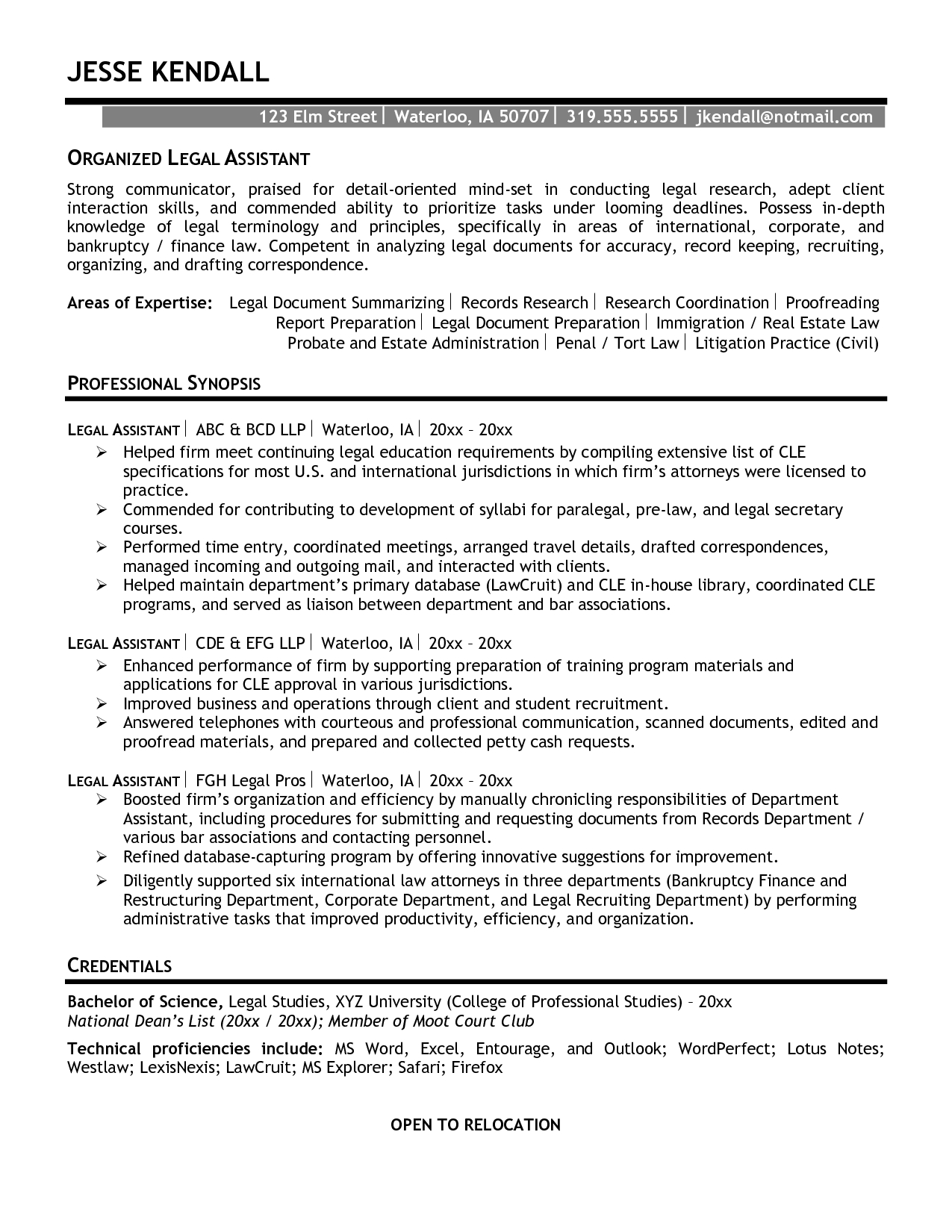 paralegal resume template entry level experienced paralegal resume ...