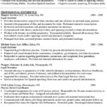 legal assistant sample resume professional experience