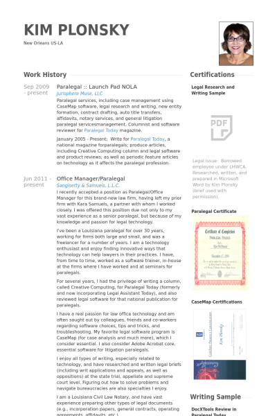 paralegal resume samples examples work history