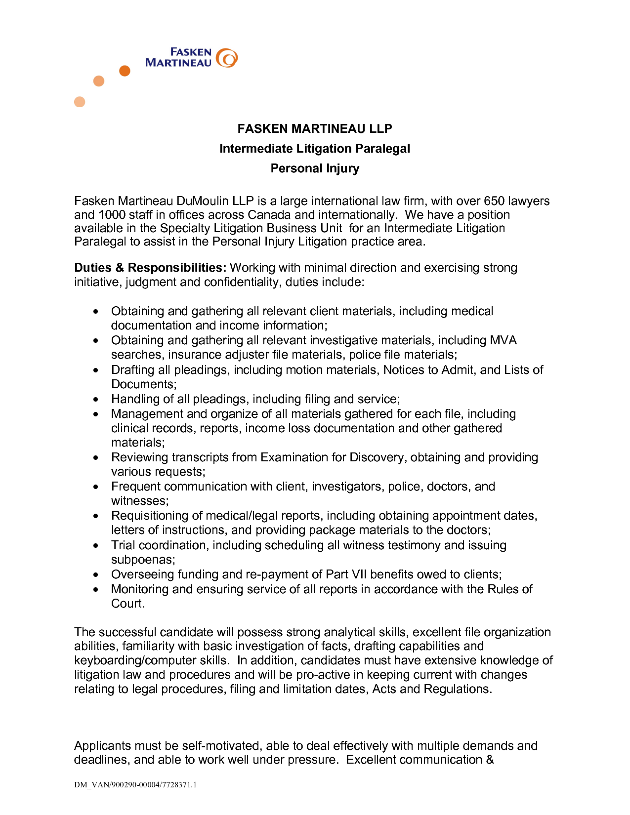 personal injury lawyer resume sample Intermediate Litigation Paralegal