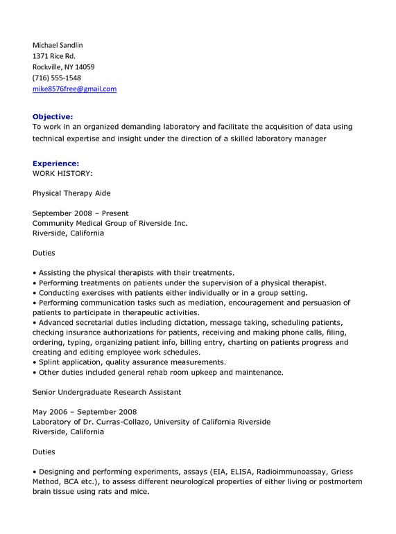 Physical Therapist Aide Resume Template Objective Experience