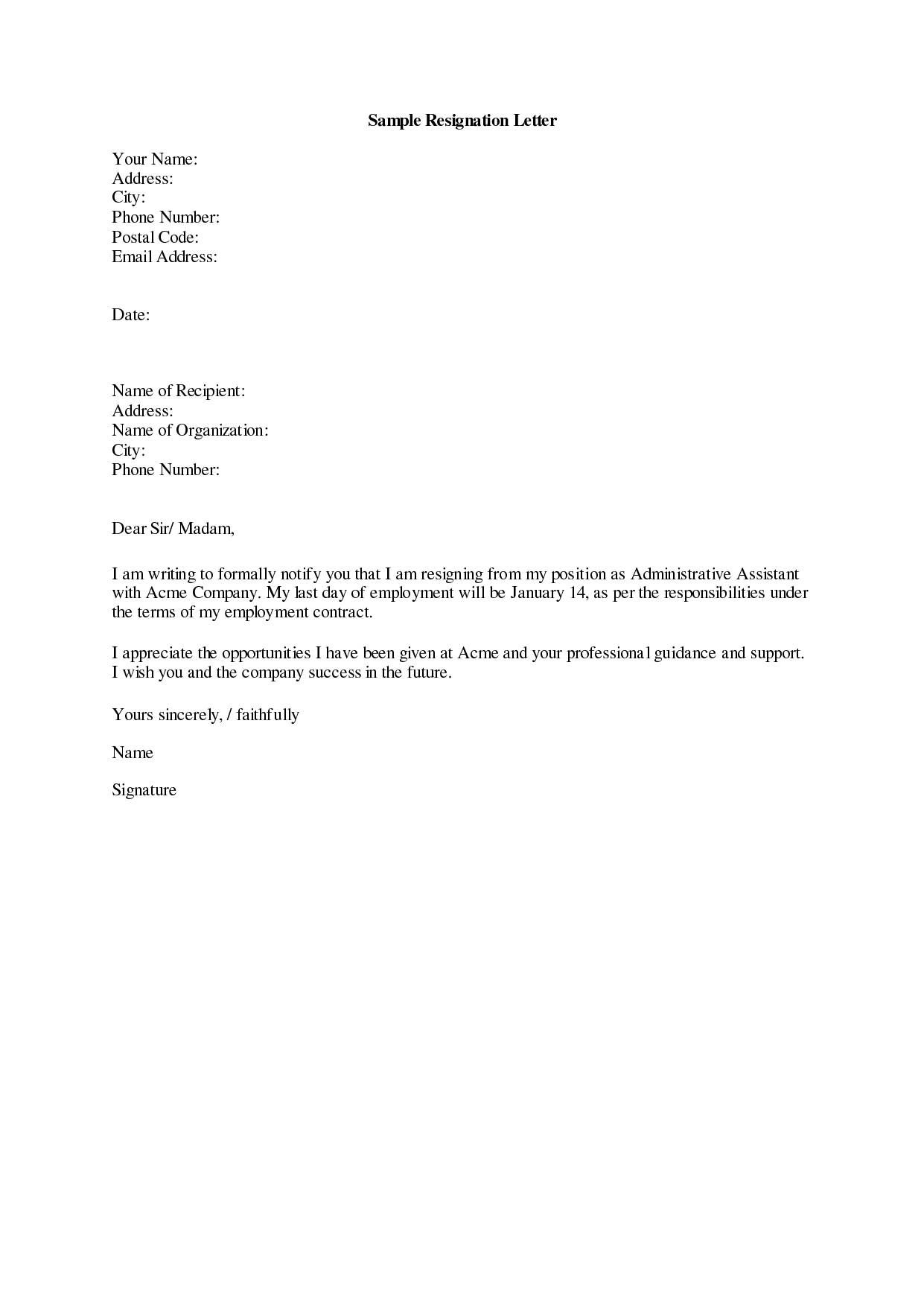 professional Letter of Resignation sample