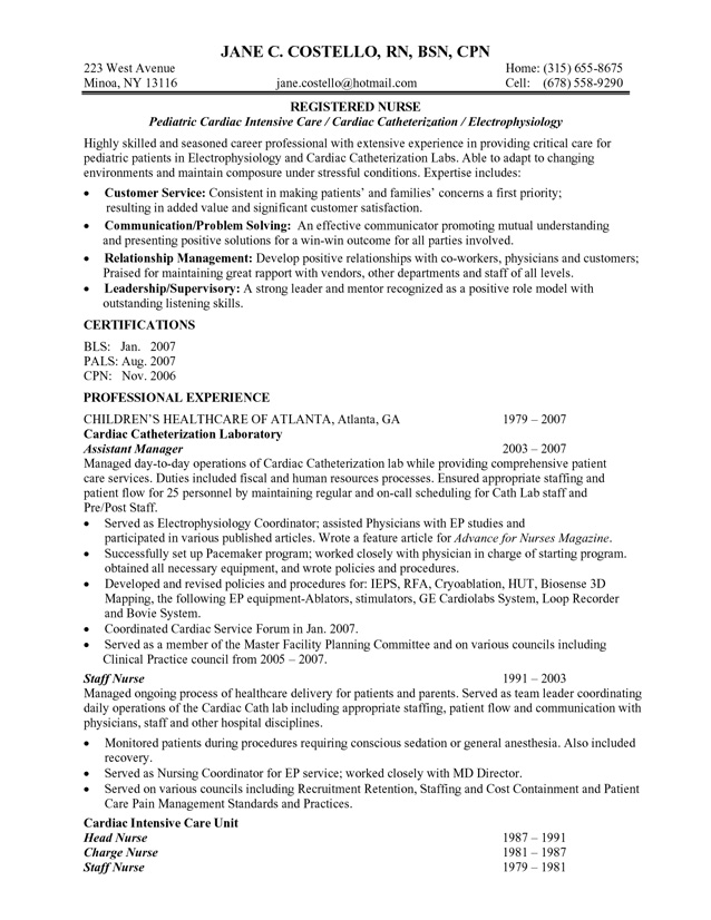 Best Registered Nurse Resume Example
