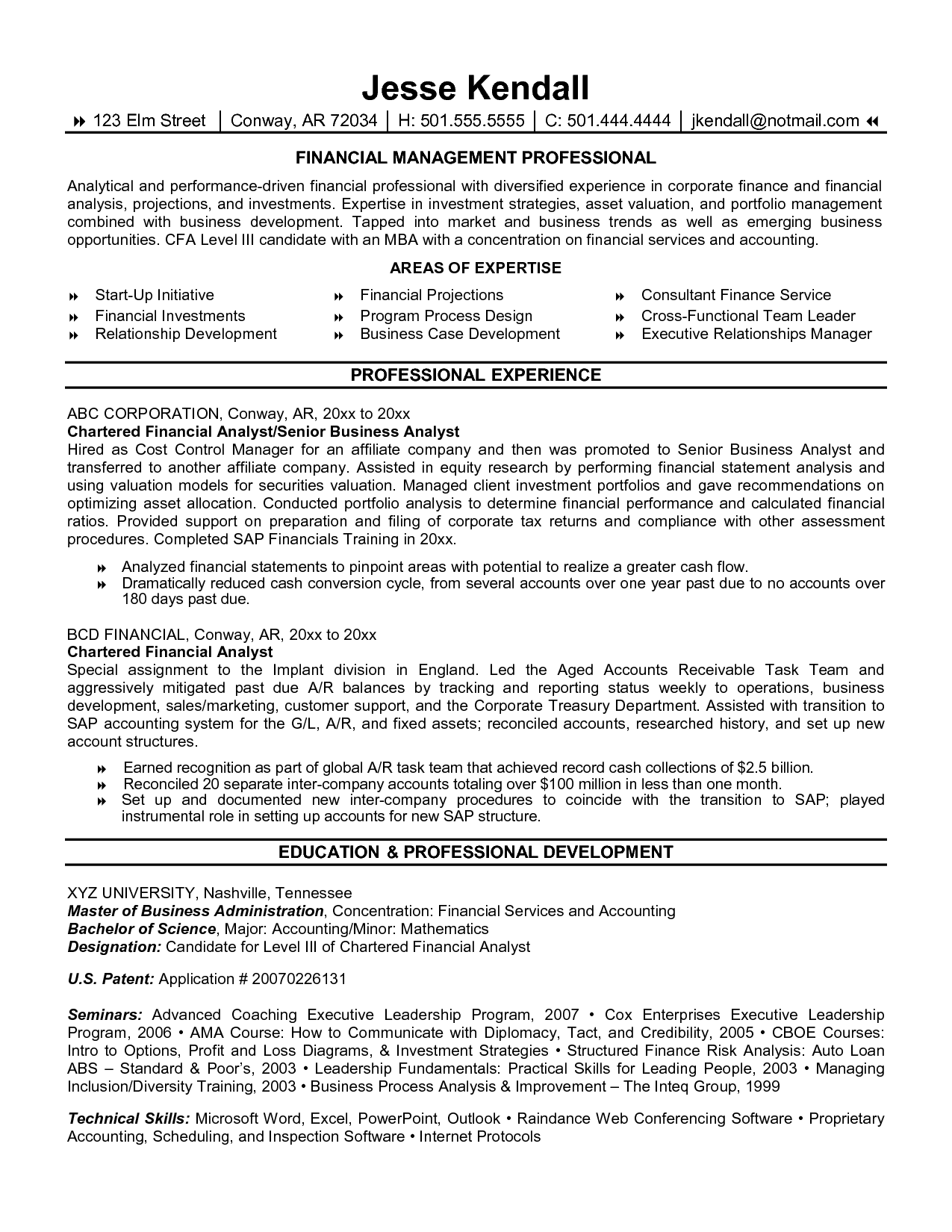 financial analyst free sample resume resume examples - Juve ...