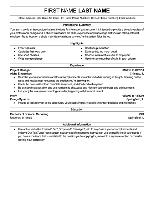 Resume Template Professional Summary