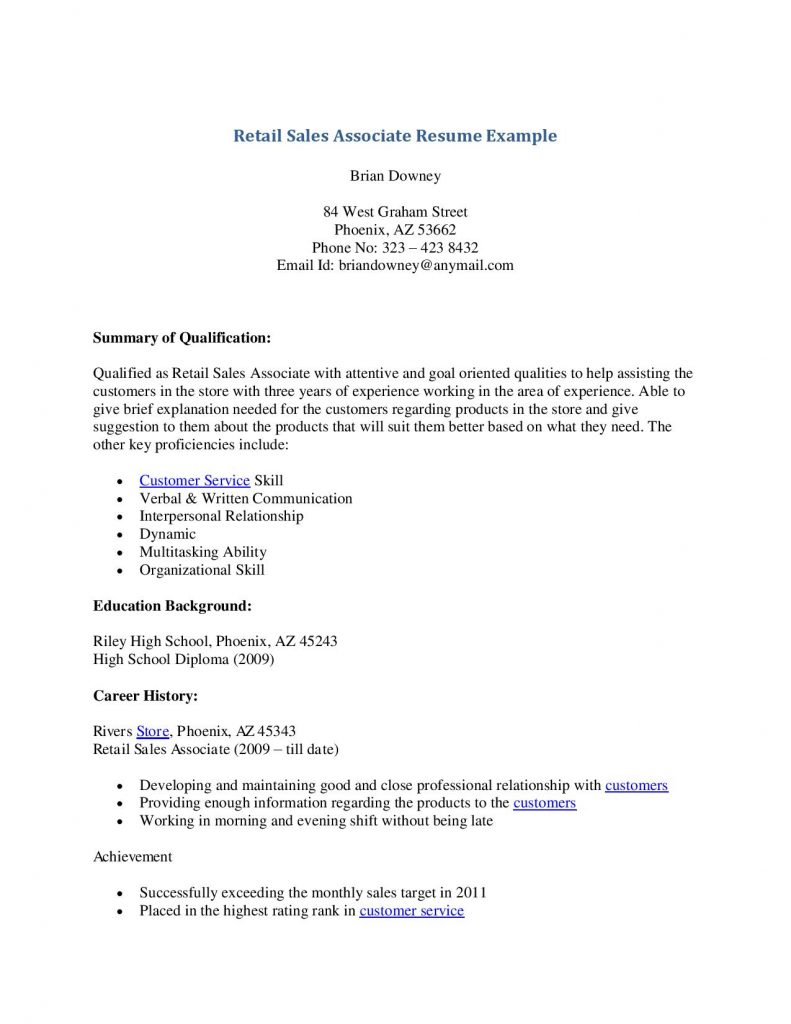 ... Retail Sales Associate Resume Example Skills Description ...