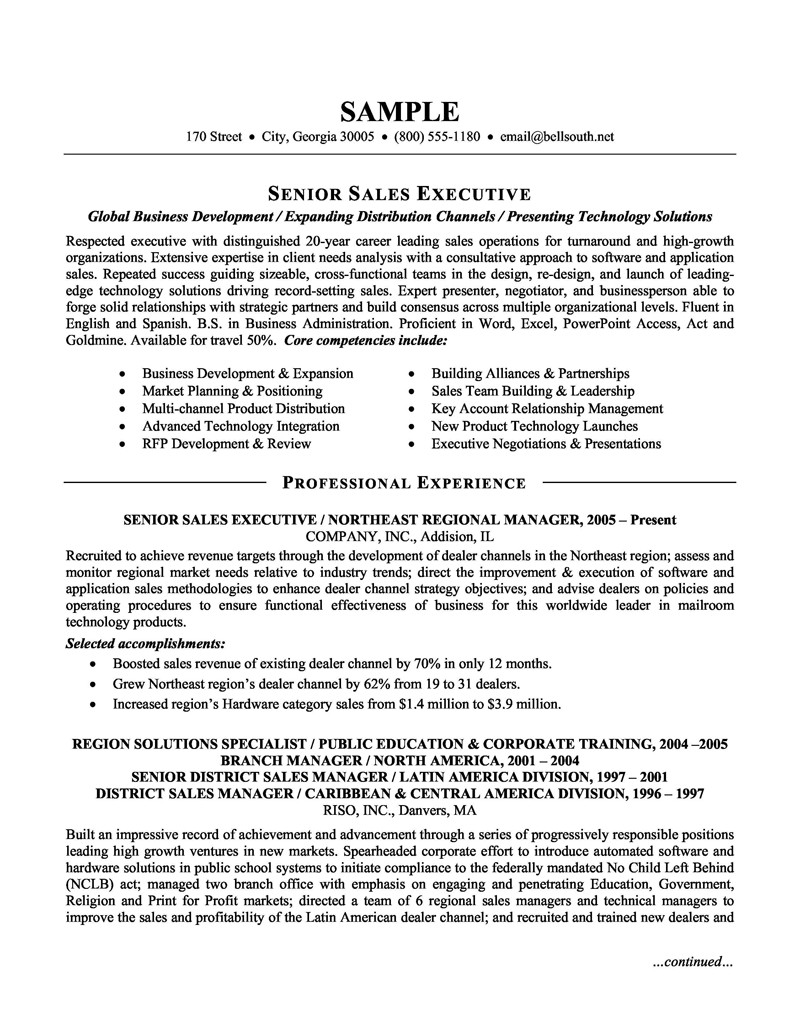 sales skills for resumes