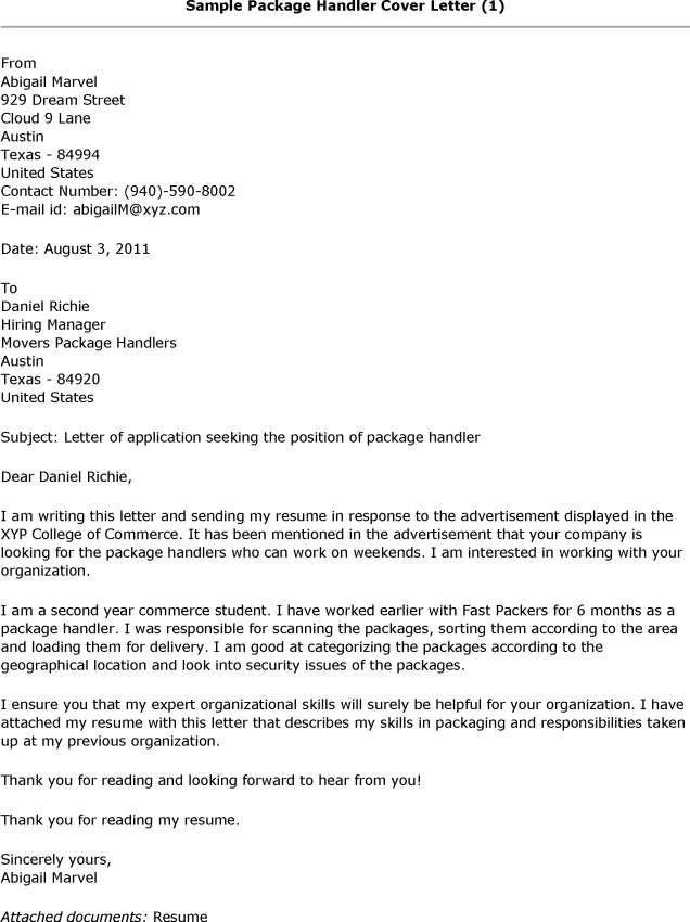 Sample Package Handler Cover Letter