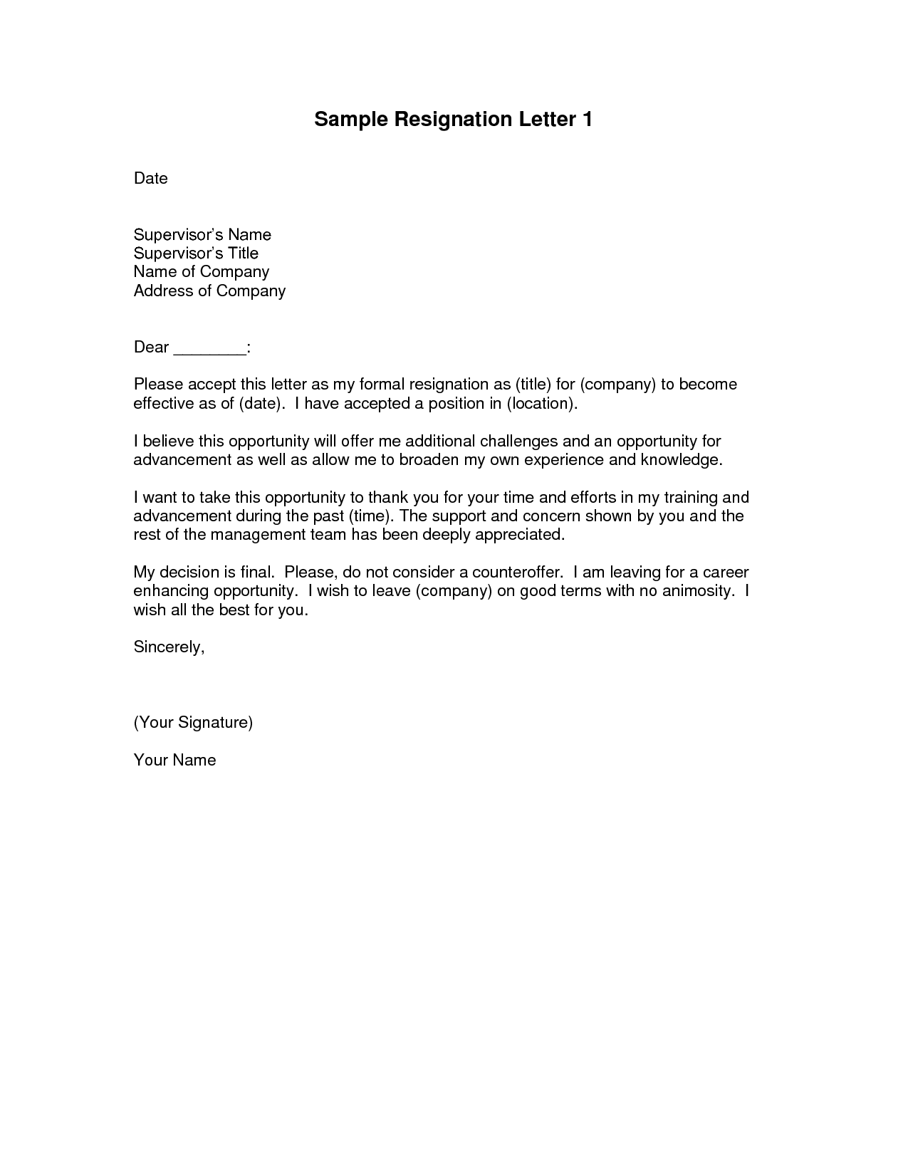 Format of resign letter from company