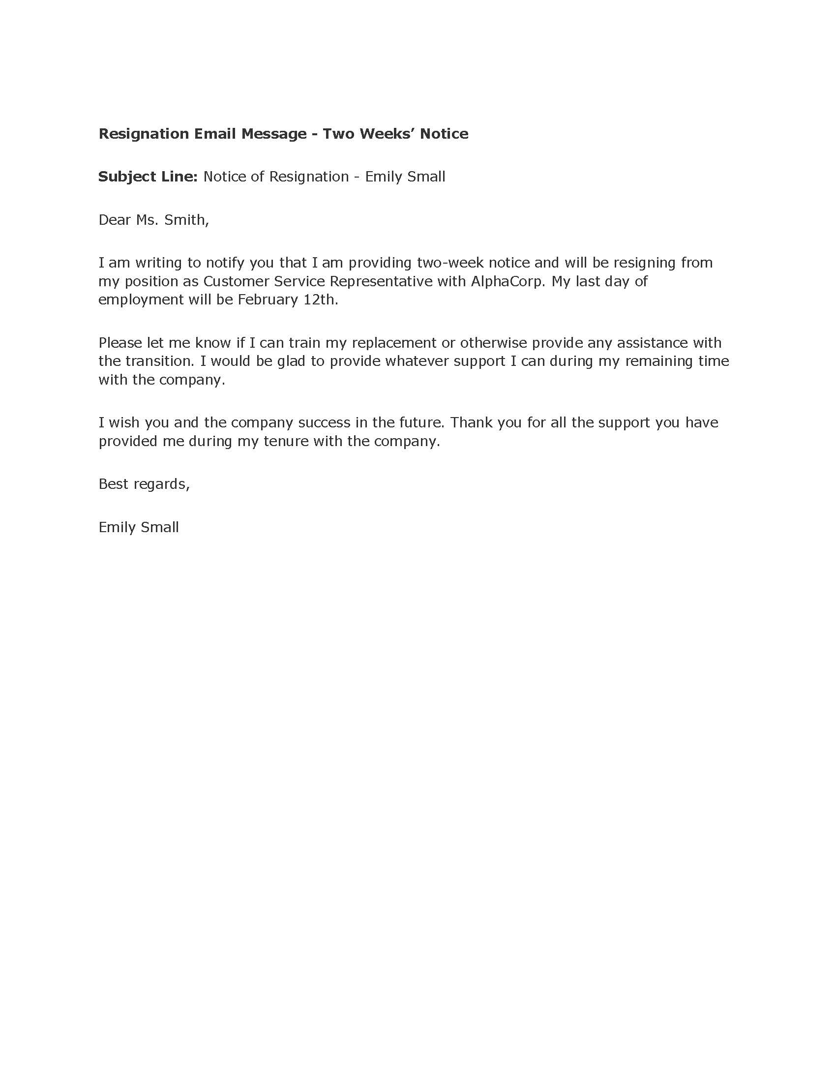 professional two weeks notice letter templates sample resignation letter two weeks notice