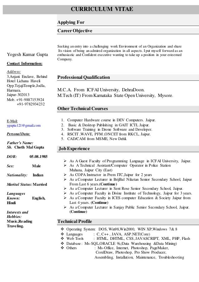 Computer Science Resume Templates - Samplebusinessresume.Com