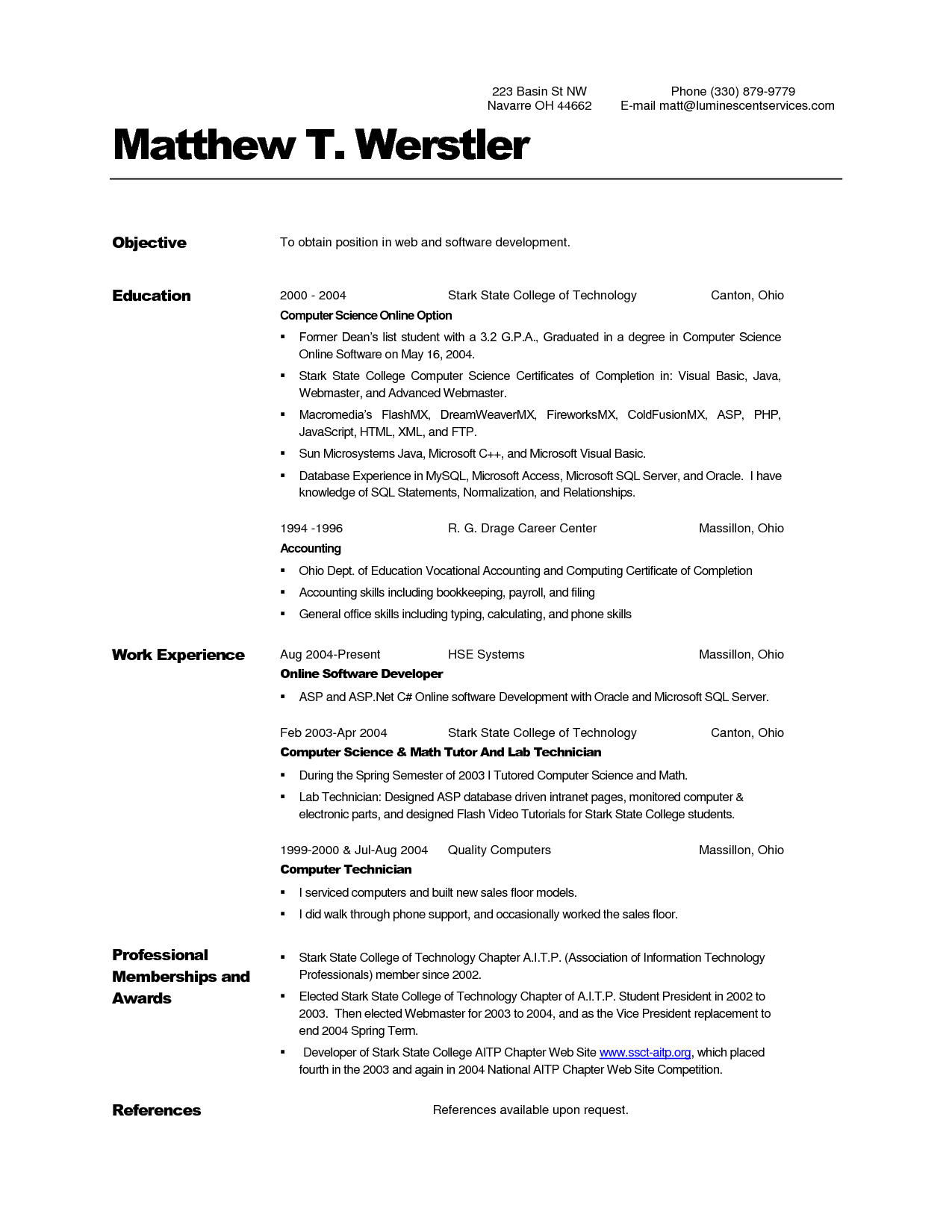 Sample Resume Computer Science Student Resume Objective