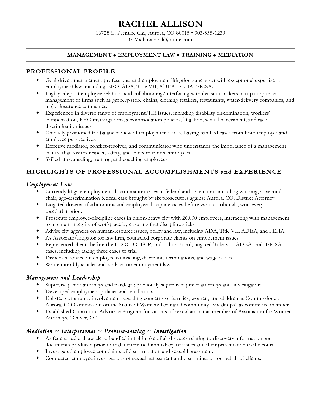 Example Resume Legal Assistant resume for a legal administrative – Sample Paralegal Resume Objectives
