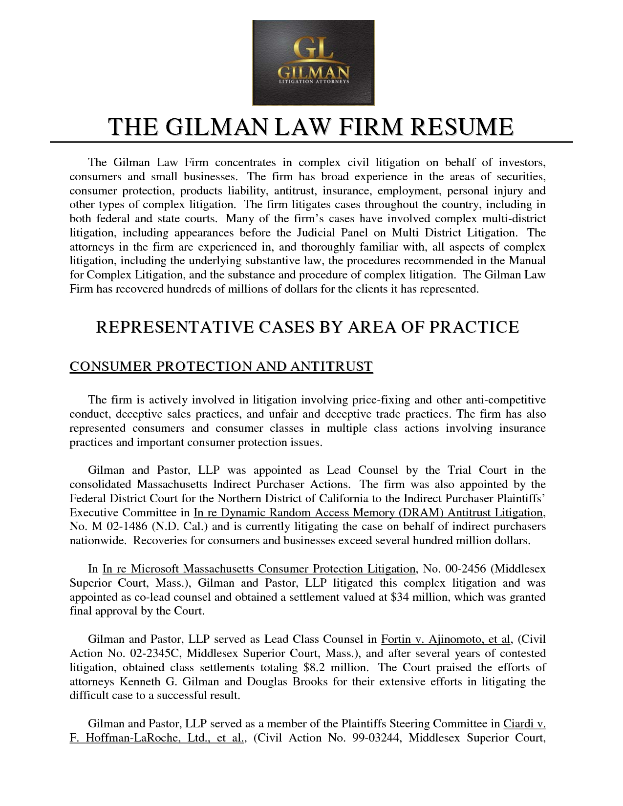 sample securities lawyer resume representative cases by area of practice