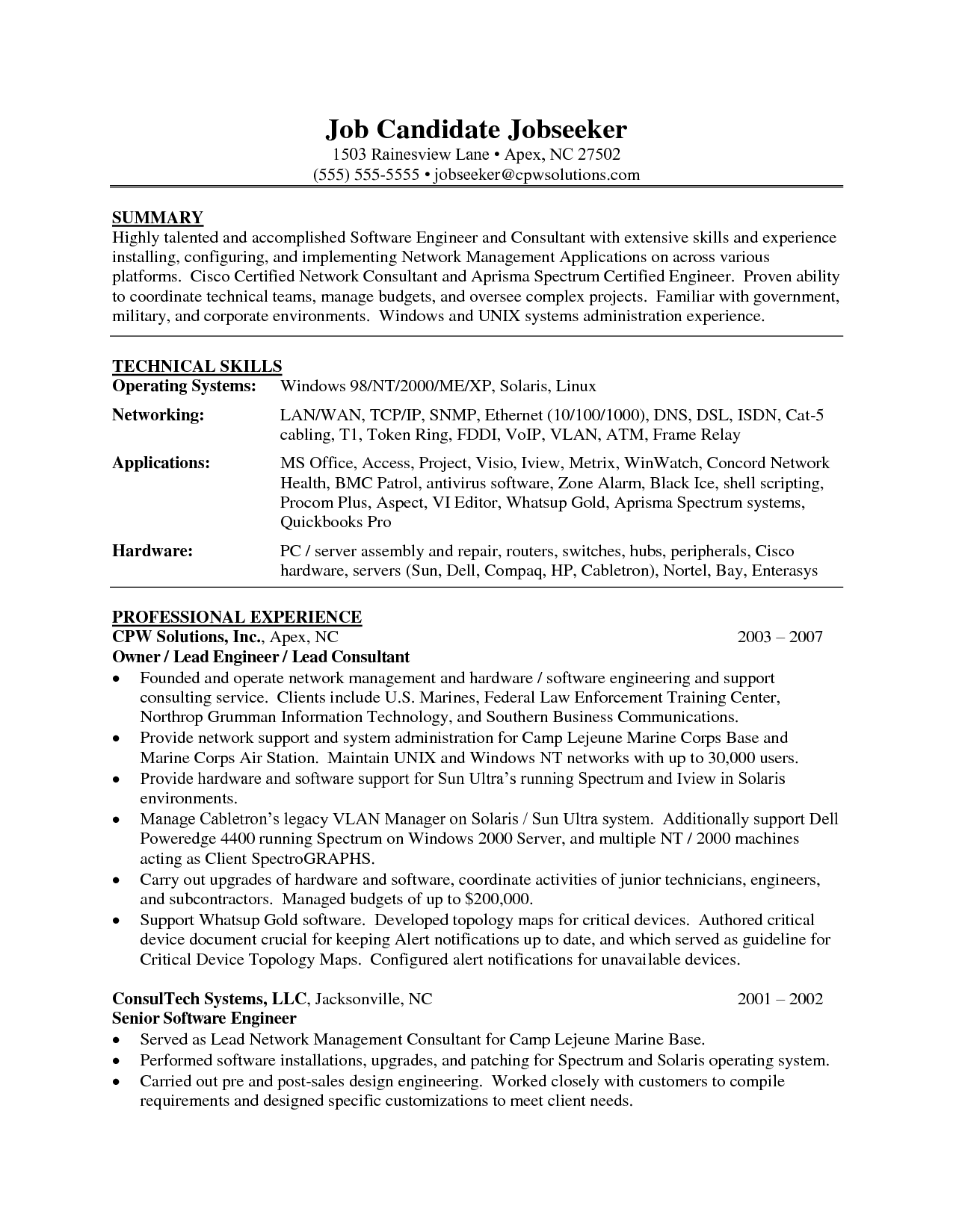 Sample Software Engineer Resume Summary Technical Skills