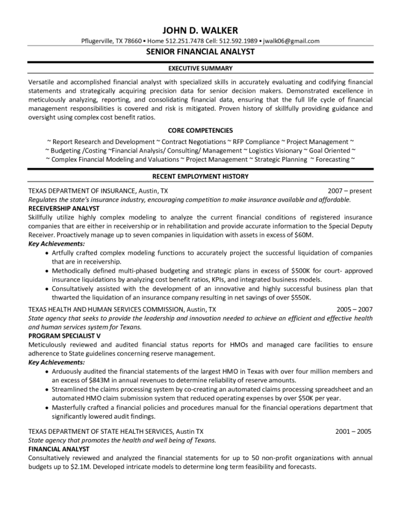 senior sample of a financial analyst resume executive summary