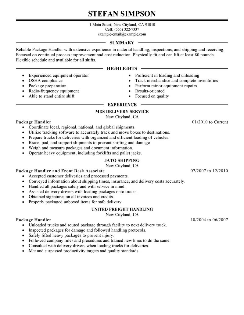 Package Handler Job Description Resume - SampleBusinessResume.com ...