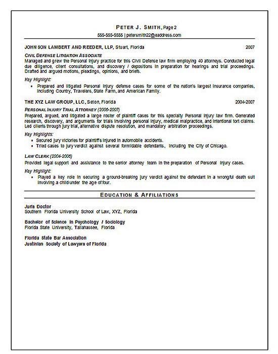 affiliation in resume sample - court trial attorney resume example education and
