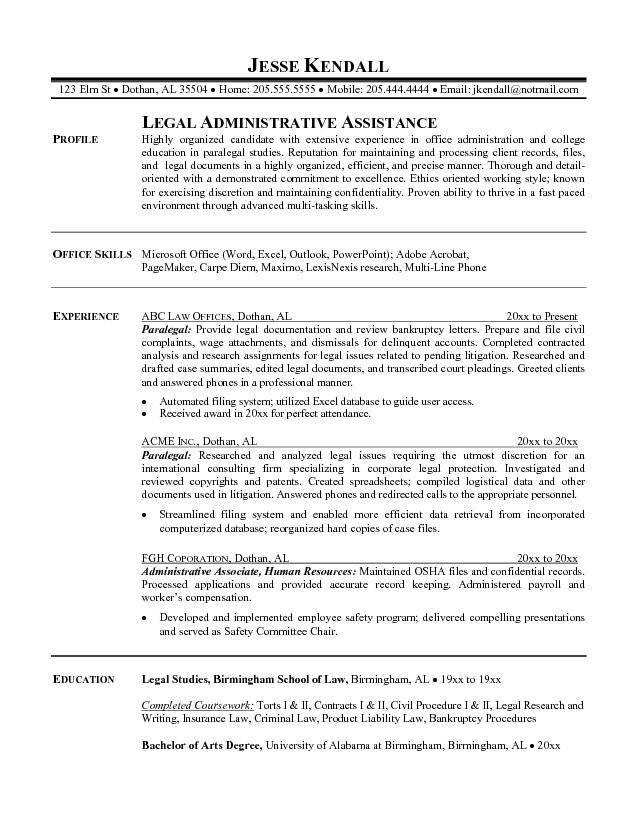 Examples Of Legal Assistant Resumes - Template