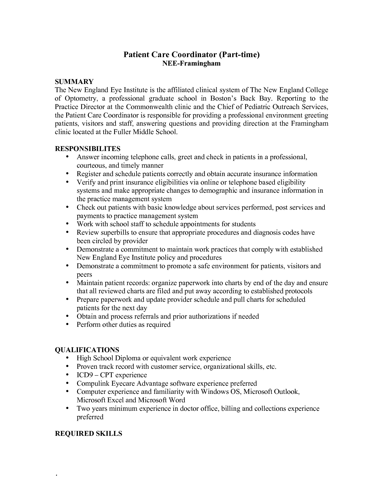 patient care coordinator resume summary and responsibilities - Staffing Coordinator Resume