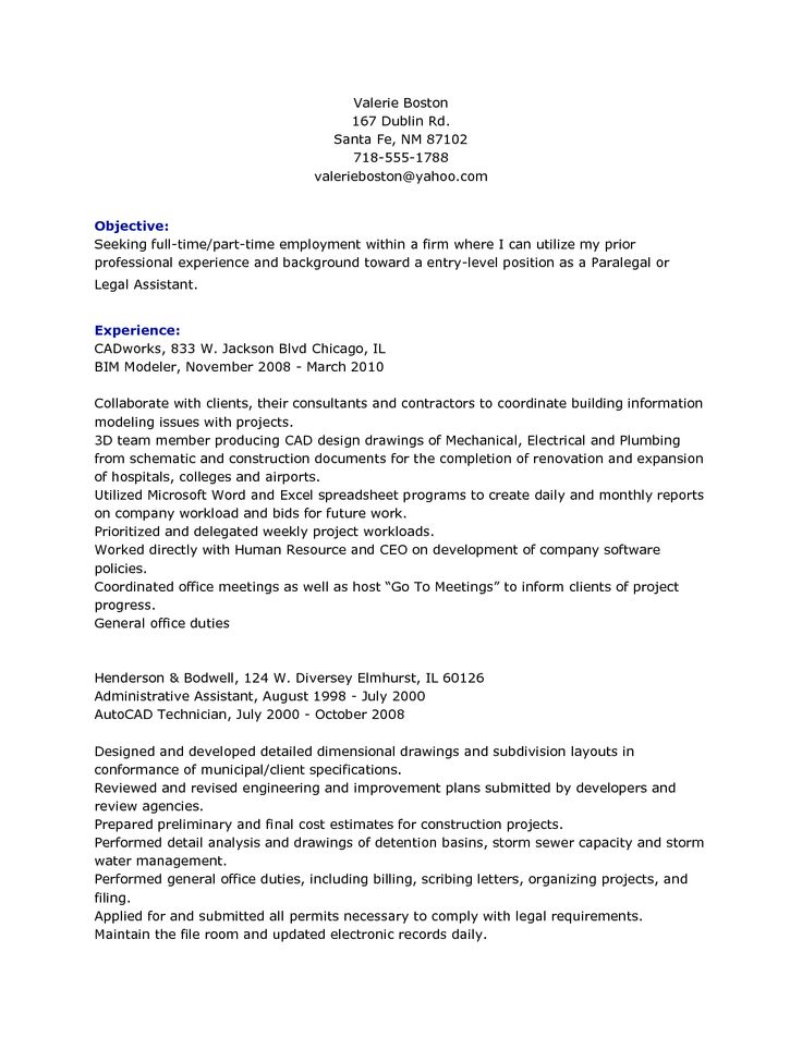 No Restaurant Experience Resume