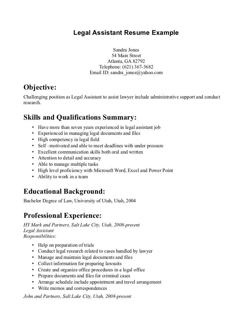 Resume Legal Assistant Sample resume sample legal secretary – Secretary Resume Example