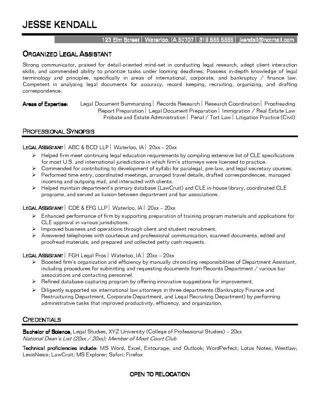 paralegal resume example professional experience - Resume For Secretary
