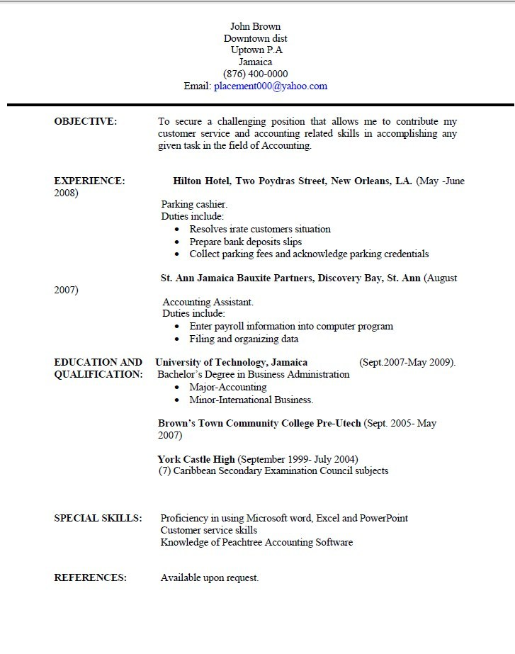 resume templates jamaica resume writing university of technology - Sample Picture Of A Resume