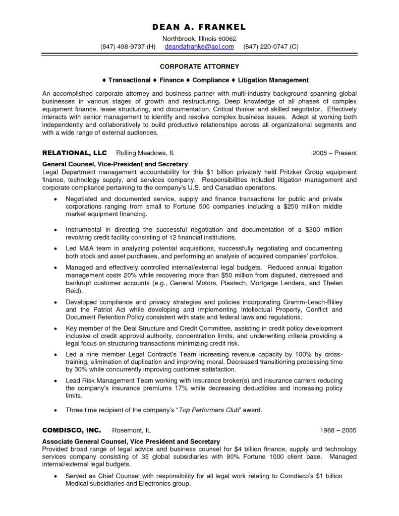 corporate attorney resume samples - Attorney Resume Samples