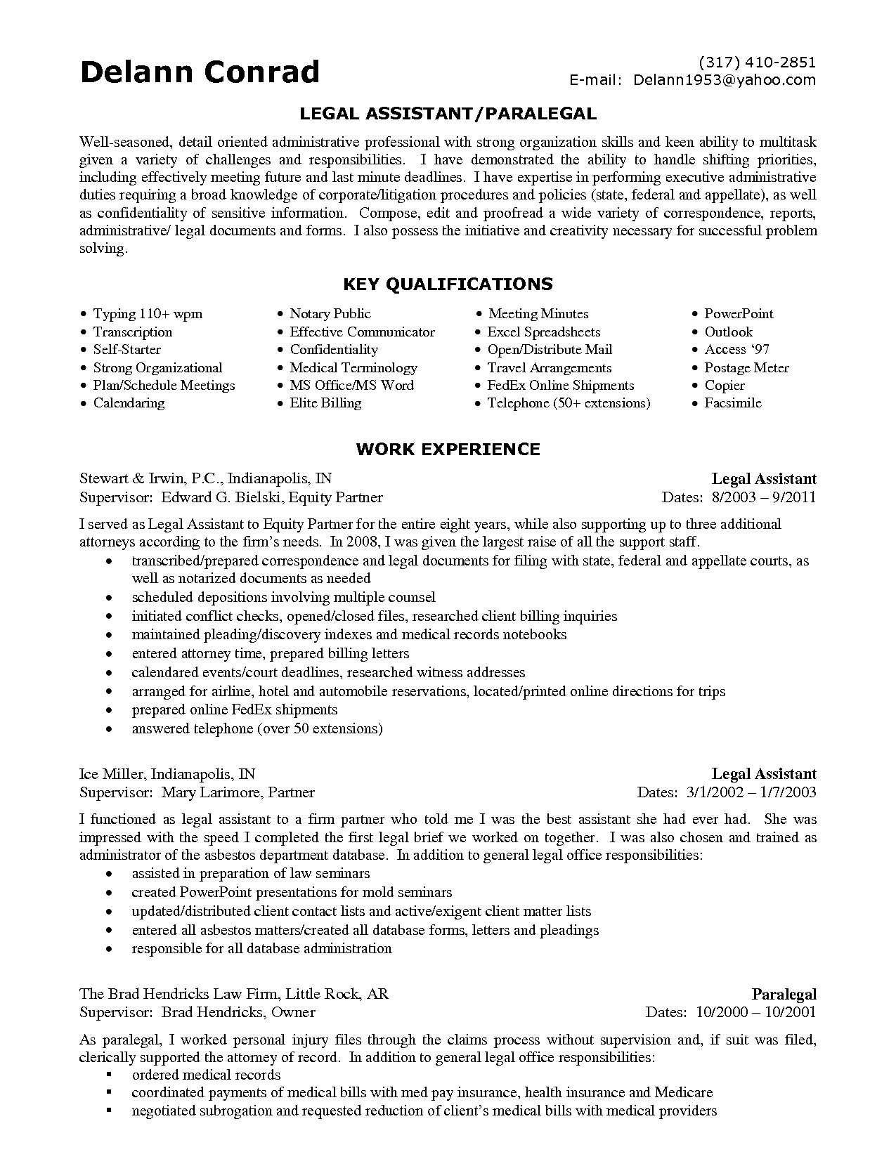 Personal Injury Legal Assistant Resume Sample Samplebusinessresume