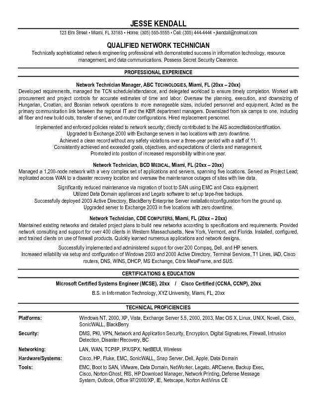 optometric tech resume examples qualified network technician - Network Technician Resume Sample