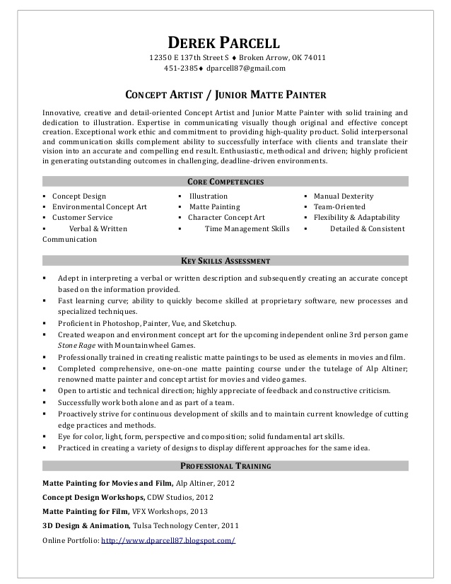 painter resume samples concept artist junior matte painter