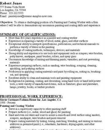 sample resume resume for painter resume for painter sample resume ...